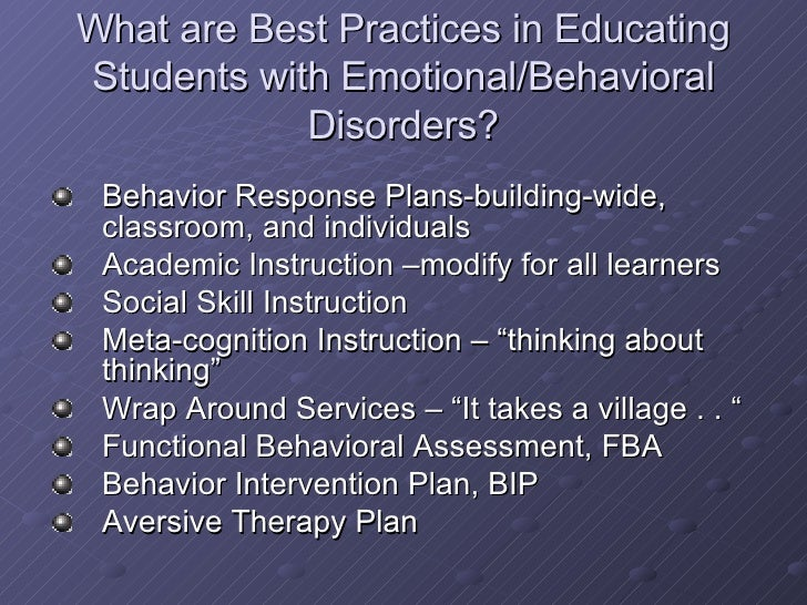 Classroom Design For Students With Emotional And Behavioral Disorders : Bsst