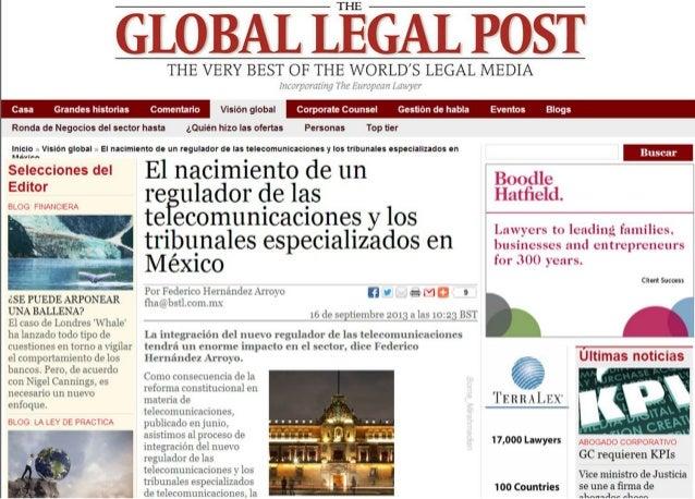 El nacimiento de un regulador de las telecomunicaciones y los tribunales especializados en México
