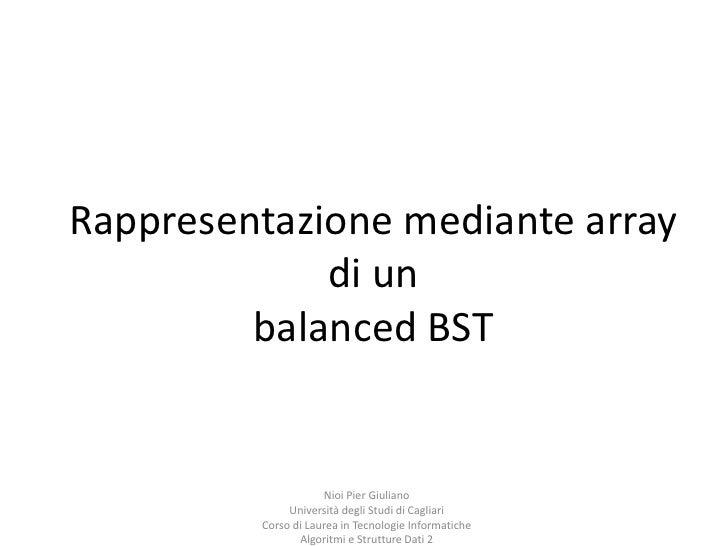 Rappresentazione mediante array di un balanced BST<br />