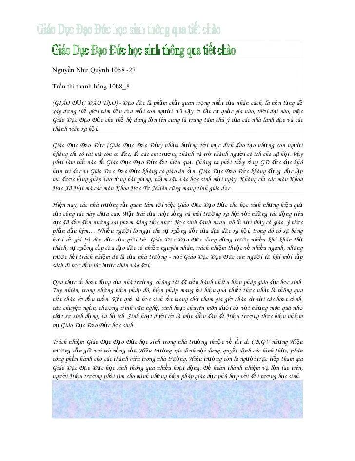Nguyễn Như Quỳnh 10b8 -27Trần thị thanh hằng 10b8_8(GIÁO DỤC ĐÀO TẠO) - Đạo đức là phẩm chất quan trọng nhất của nhân cách...