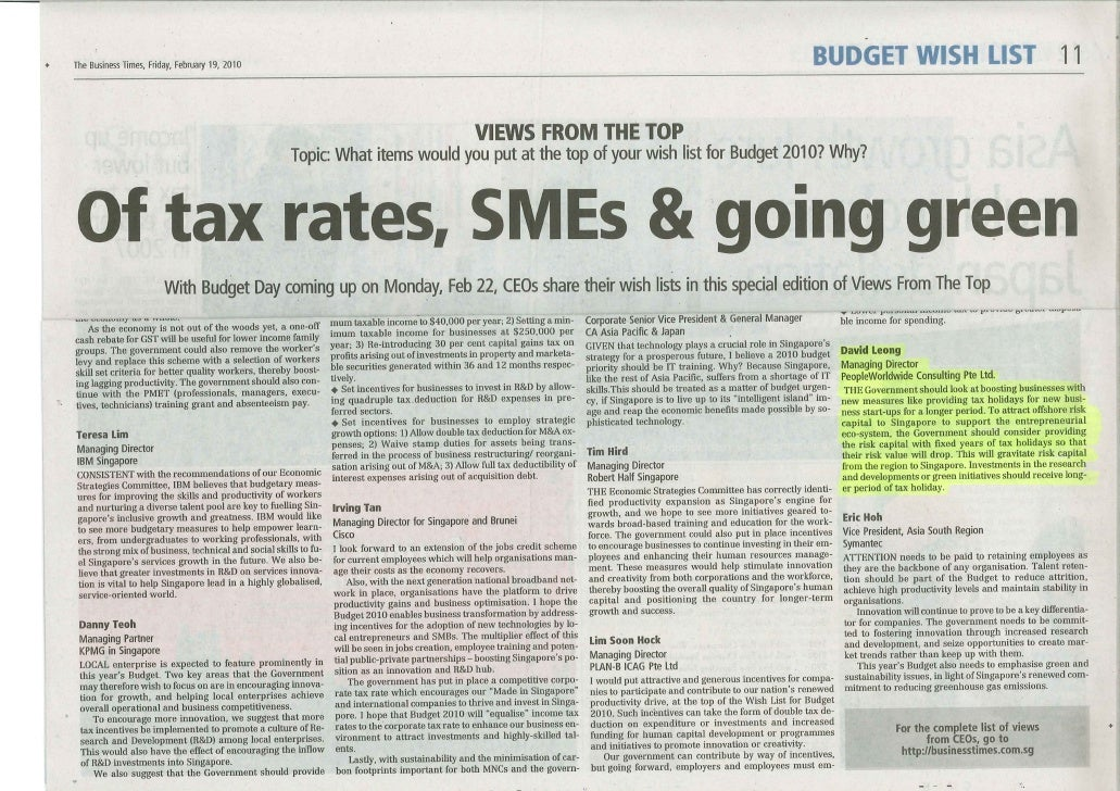 Business Times_Wish List for Budget 2010?_ 19 Feb 2010