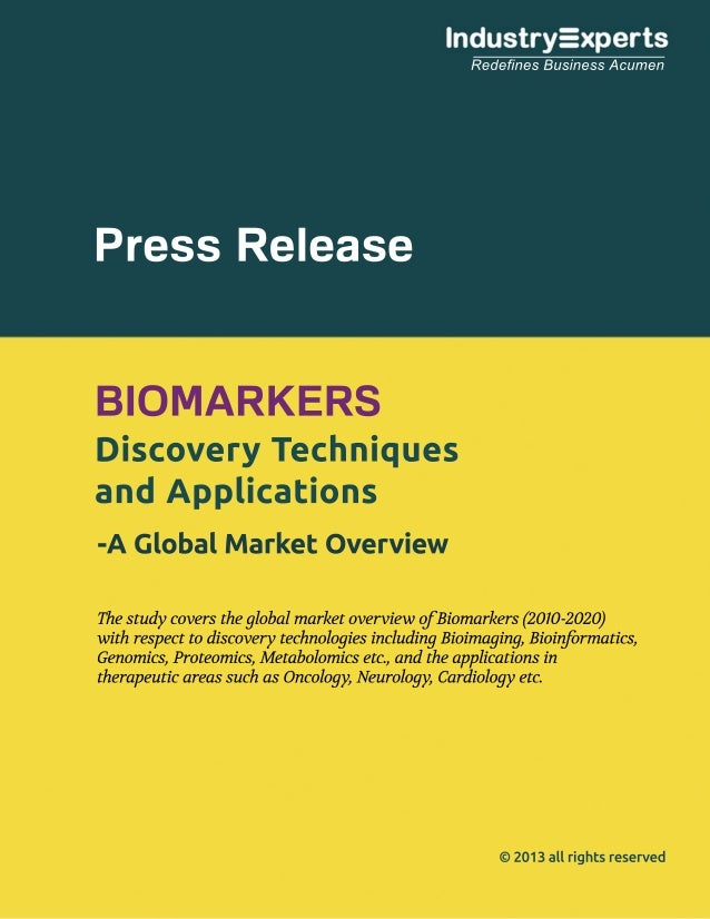 Global Market for Biomarkers to Grow by 18.8% (2010-2020) to touch $63bn
