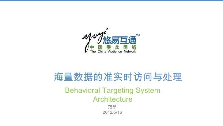 海量数据的准实时访问与处理 Behavioral Targeting System        Architecture             范昂           2012/5/16