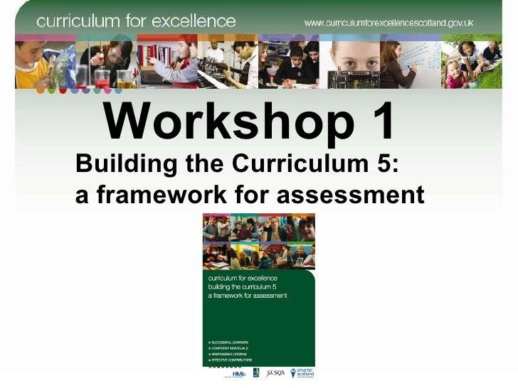 Workshop 1 Building the Curriculum 5:  a framework for assessment