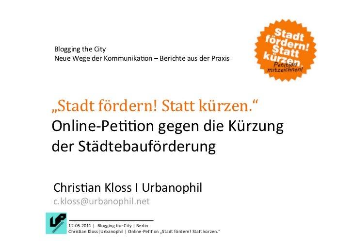 Online-Petition gegen die Kürzung der Städtebauförderung