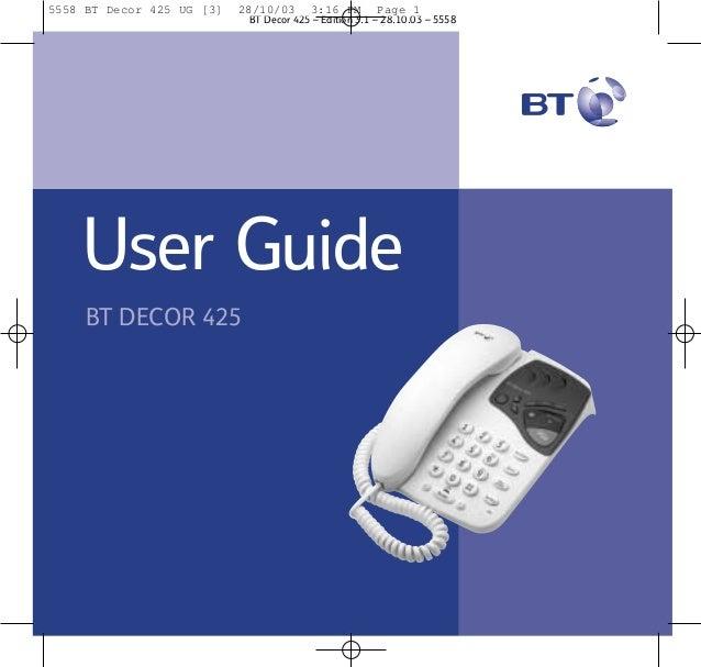 Bt decor 425 user Guide from Telephones Online  www.telephonesonline.co.uk
