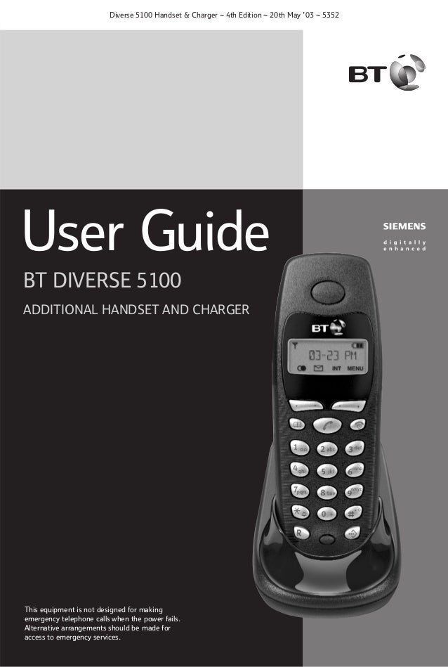 Diverse 5100 Handset & Charger ~ 4th Edition ~ 20th May '03 ~ 5352  User Guide BT DIVERSE 5100 ADDITIONAL HANDSET AND CHAR...