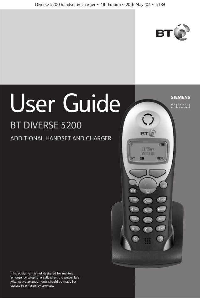 Diverse 5200 handset & charger ~ 4th Edition ~ 20th May '03 ~ 5189  User Guide BT DIVERSE 5200 ADDITIONAL HANDSET AND CHAR...