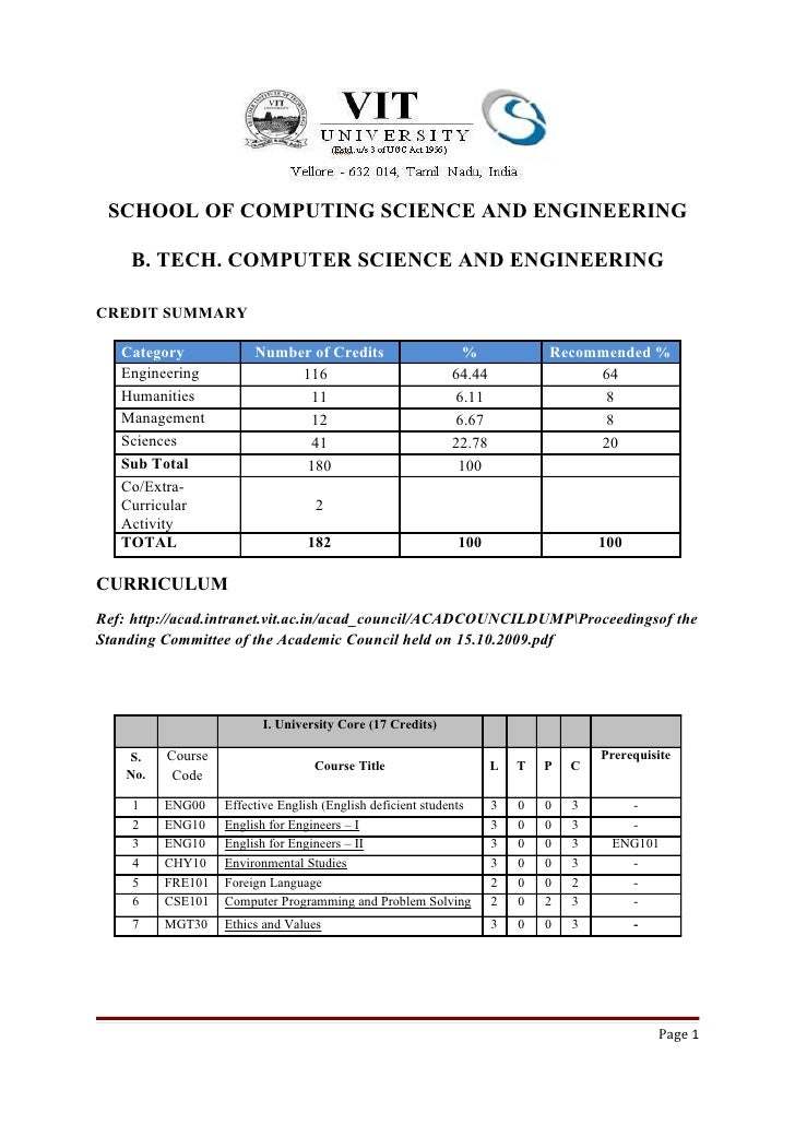 SCHOOL OF COMPUTING SCIENCE AND ENGINEERING    B. TECH. COMPUTER SCIENCE AND ENGINEERINGCREDIT SUMMARY   Category         ...
