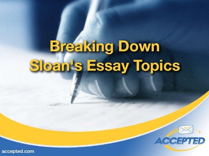 mit sloan mba admission essay