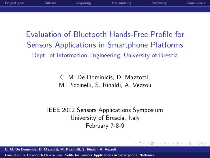 Evaluation of Bluetooth Hands-Free Profile for Sensors Applications in Smartphone Platforms