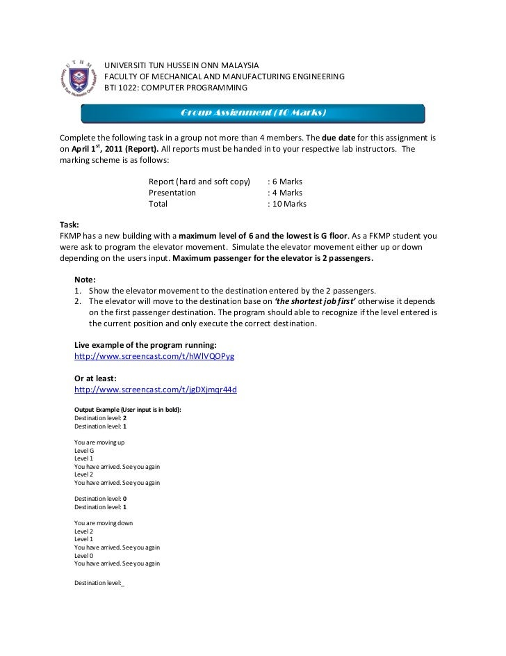 left0UNIVERSITI TUN HUSSEIN ONN MALAYSIA<br />FACULTY OF MECHANICAL AND MANUFACTURING ENGINEERING <br />BTI 1022: COMPUTER...
