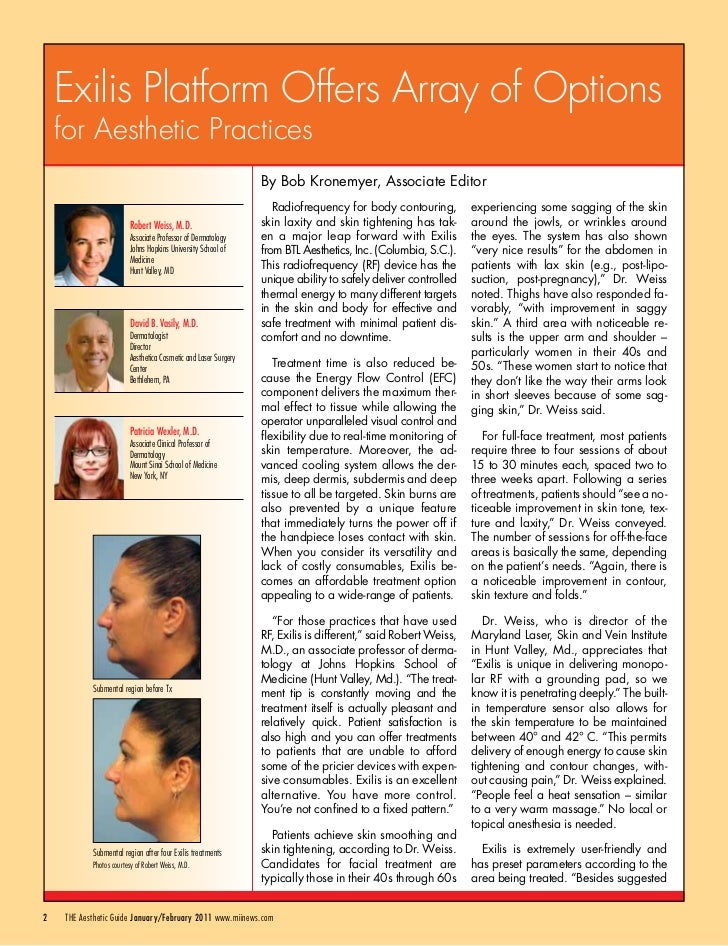 Exilis Platform Offers Array of Options    for Aesthetic Practices                                                        ...