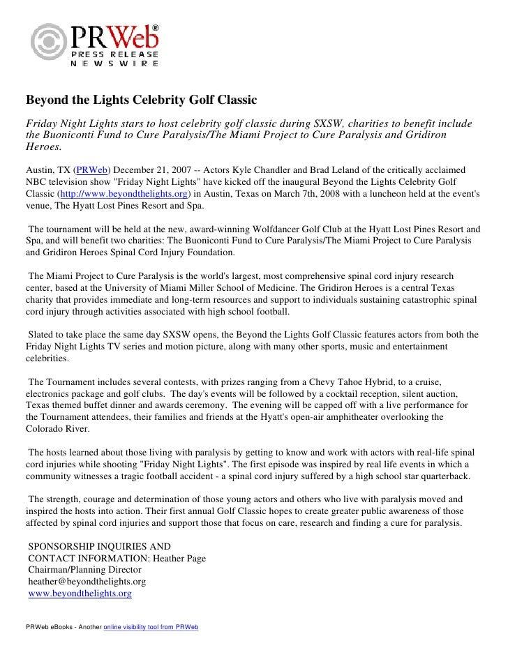 Celebrity Golf Tournament, Press Release