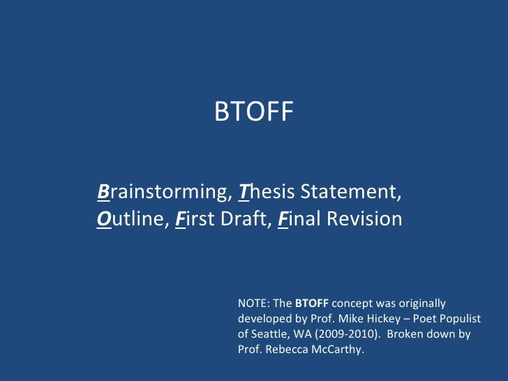 BTOFF B rainstorming,  T hesis Statement,  O utline,  F irst Draft,  F inal Revision NOTE: The  BTOFF  concept was origina...