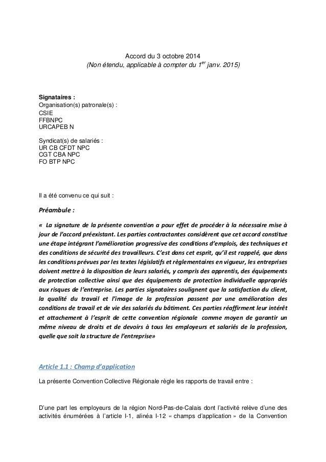 Accord du 3 octobre 2014 (Non étendu, applicable à compter du 1er janv. 2015) Signataires : Organisation(s) patronale(s) :...