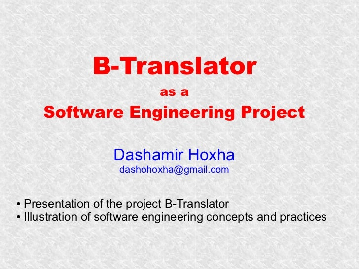 B-Translator as a Software Engineering Project