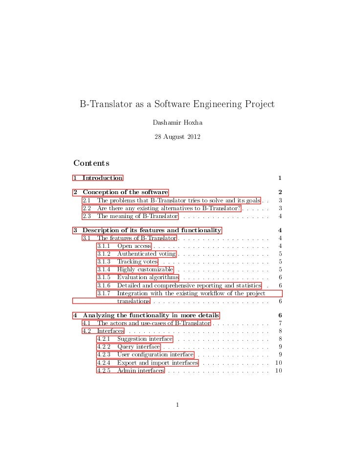 B-Translator as a Software Engineering Project                               Dashamir Hoxha                               ...