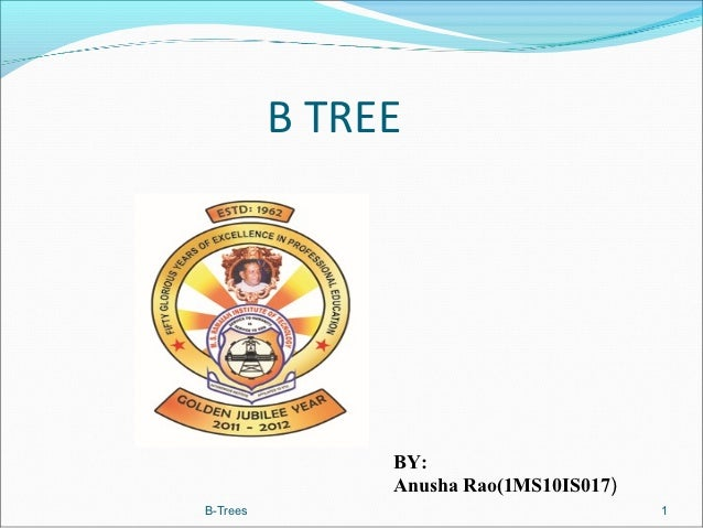 B TREE               BY:               Anusha Rao(1MS10IS017)B-Trees                                 1