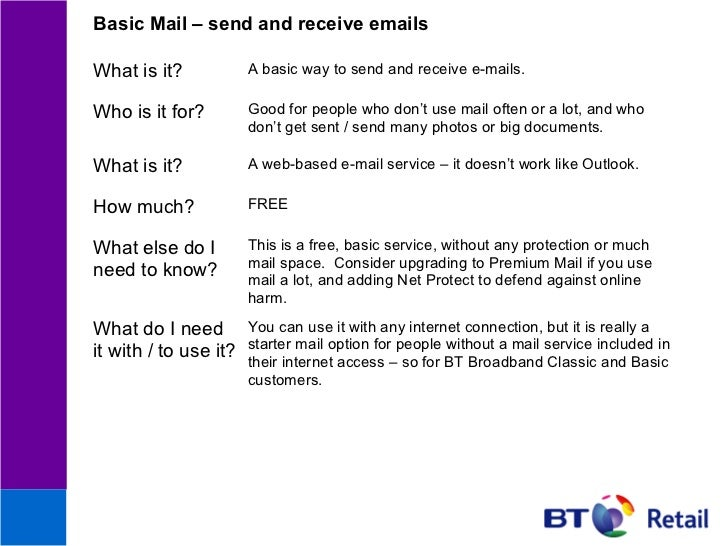 Basic Mail – send and receive emailsWhat is it?            A basic way to send and receive e-mails.Who is it for?         ...
