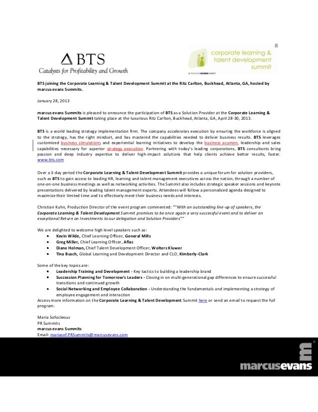 Corporate Learning & Talent Development Summit 2013 - BTS