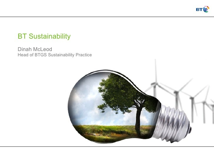 BT Sustainability Dinah McLeod Head of BTGS Sustainability Practice