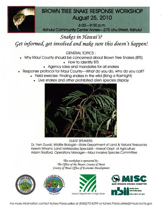 2010 Brown Tree Snake Response Workshop on Maui