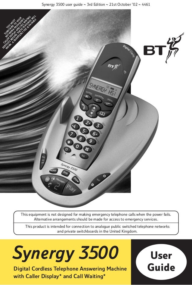 BT Synergy 3500 Telephone User Guide from Telephones Online