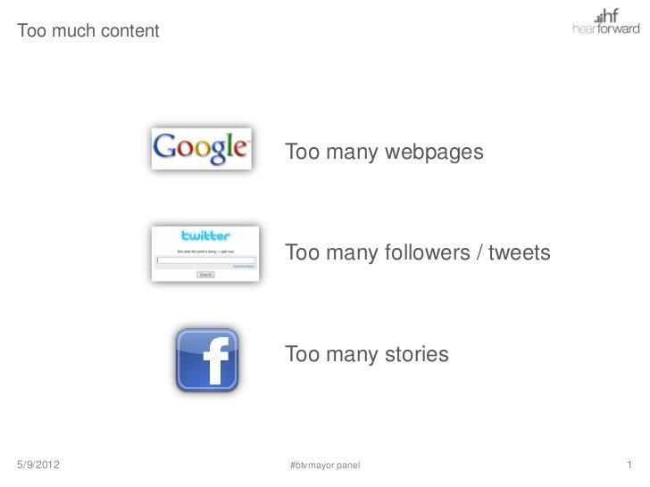 Too much content                   Too many webpages                   Too many followers / tweets                   Too m...
