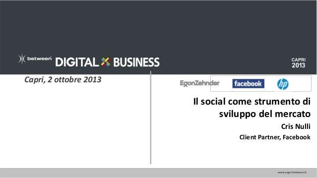 Il social come strumento di sviluppo del mercato.