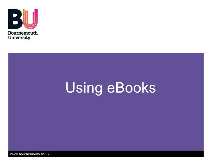 Using eBooks