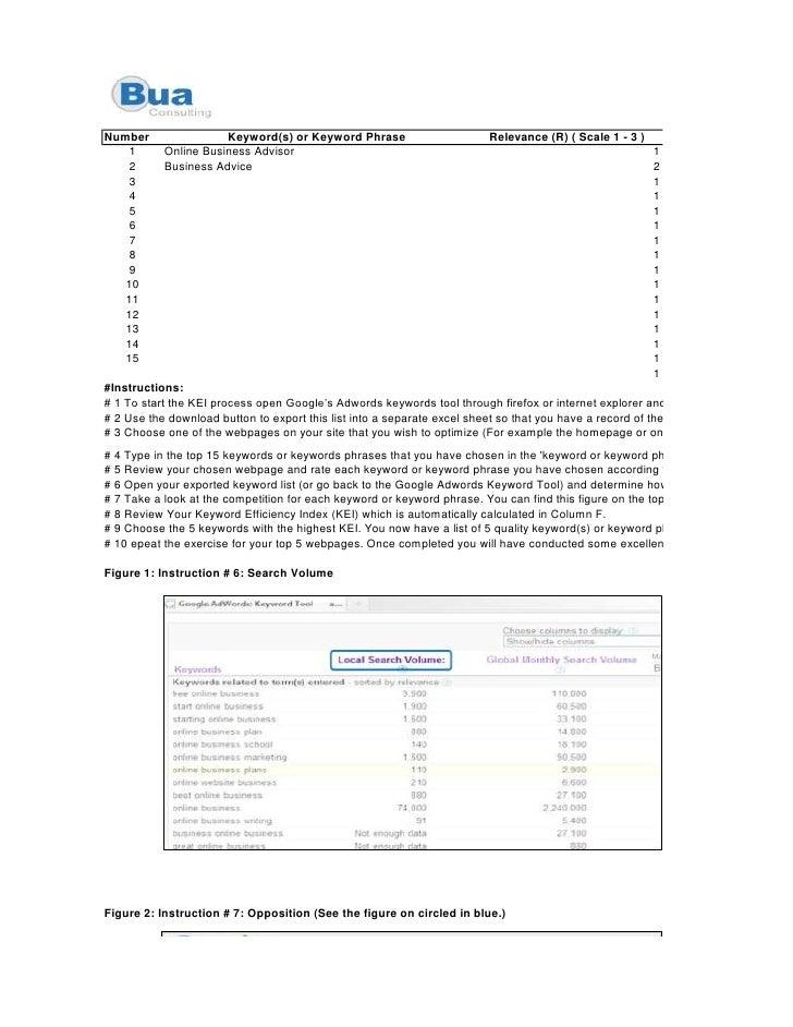 Number                Keyword(s) or Keyword Phrase                        Relevance (R) ( Scale 1 - 3 )     1      Online ...