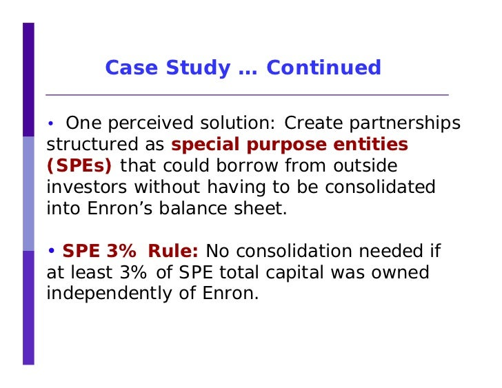 The case study of enron | Case Study Template