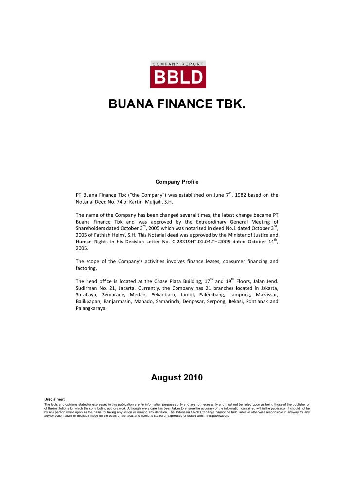 Buana Finance Tbk   •    General ProfileName                          : Buana Finance TbkCode                          : B...