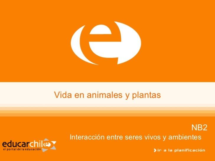 Vida en animales y plantas NB2 Interacción entre seres vivos y ambientes