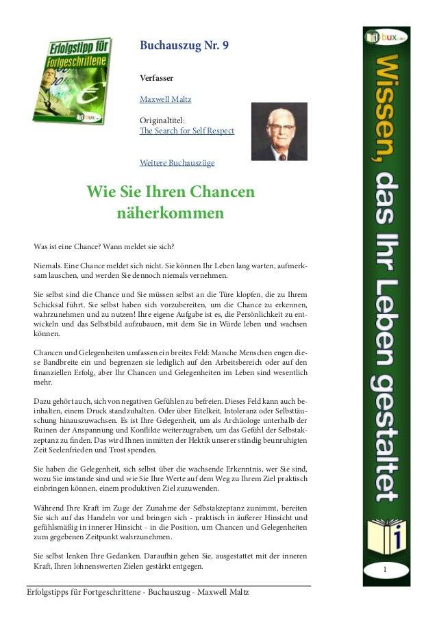 Erfolgstipps für Fortgeschrittene - Buchauszug - Maxwell Maltz 1 Buchauszug Nr. 9  Verfasser  Maxwel...