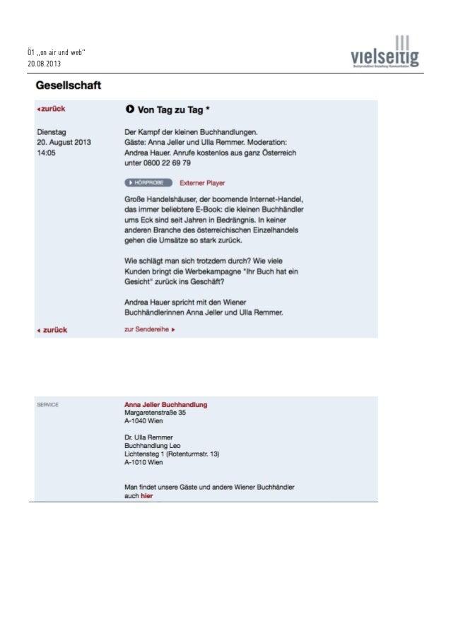 """Ö1 """"on air und web"""" 20.08.2013"""
