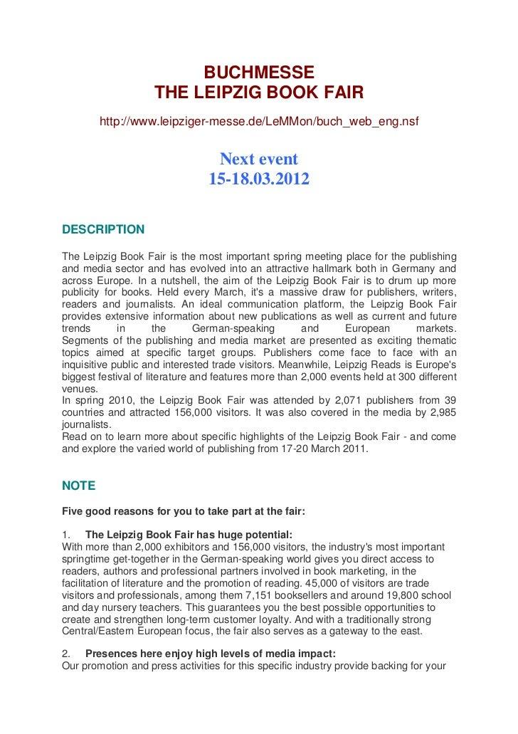 BUCHMESSE                    THE LEIPZIG BOOK FAIR        http://www.leipziger-messe.de/LeMMon/buch_web_eng.nsf           ...