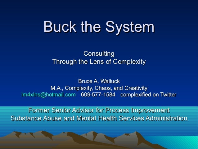 Buck the SystemBuck the System ConsultingConsulting Through the Lens of ComplexityThrough the Lens of Complexity Bruce A. ...