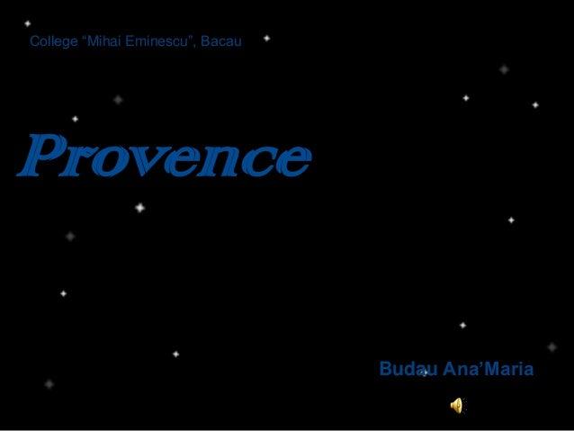 "College ""Mihai Eminescu"", Bacau Provence Budau Ana'Maria"