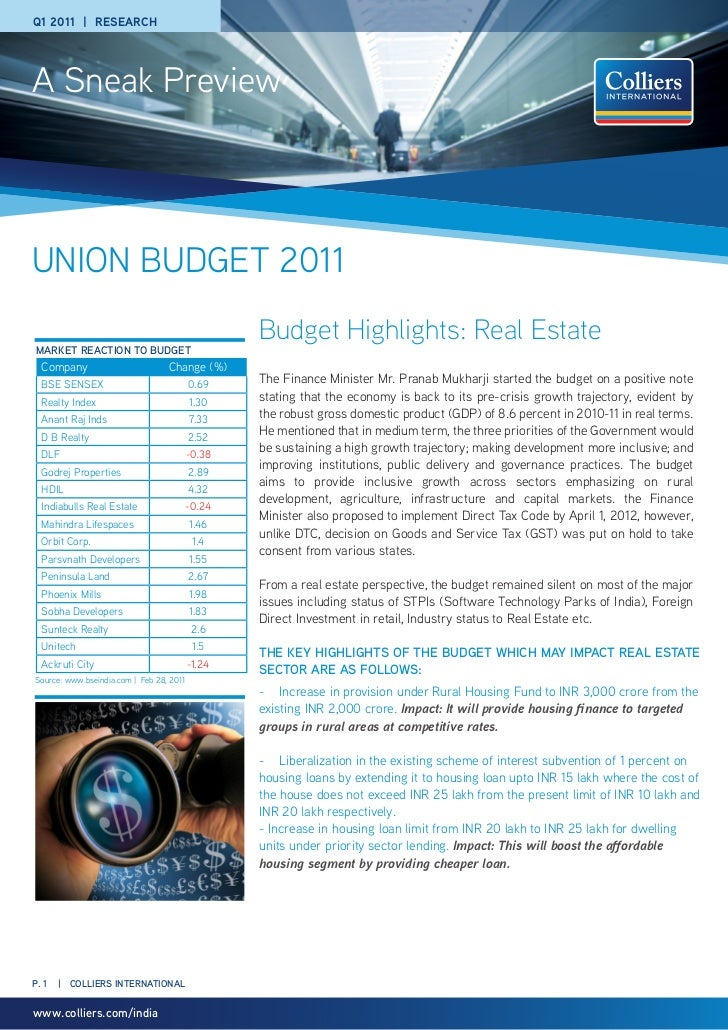 Q1 2011 | rESEArCHA Sneak PreviewUNION BUDGET 2011                                                  Budget Highlights: Rea...
