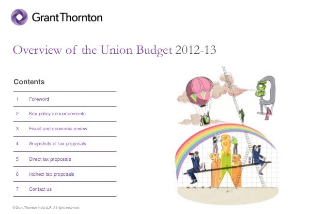 © Grant Thornton India LLP. All rights reserved. Overview of the Union Budget 2012-13 Contents 1 Foreword 2 Key policy ann...