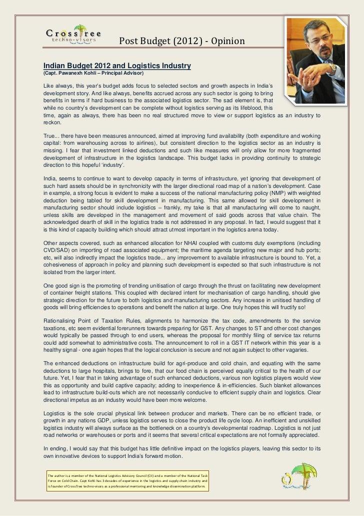 Impact- Indian Budget 2012 & Logistics