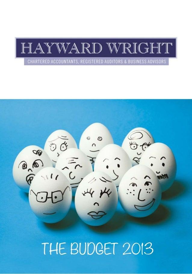 2013 Budget Summary from Hayward Wright