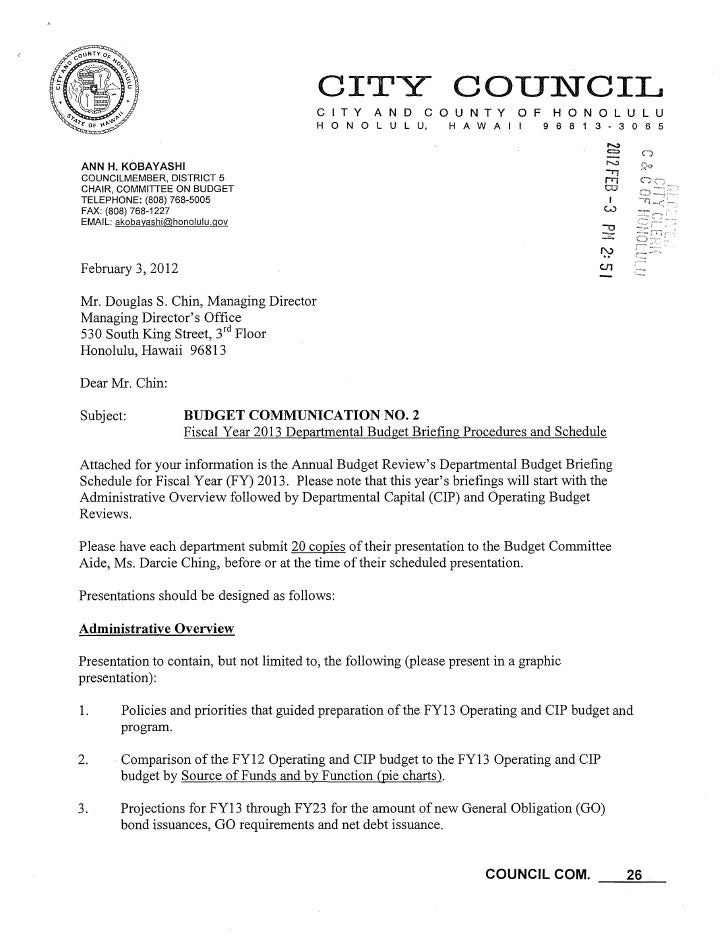 Budget Briefing Schedule