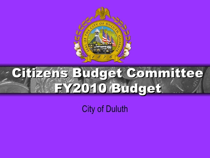 Citizens Budget Committee FY2010 Budget City of Duluth