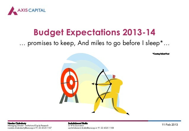 Budget Expectations 2013-14            … promises to keep, And miles to go before I sleep*…                               ...