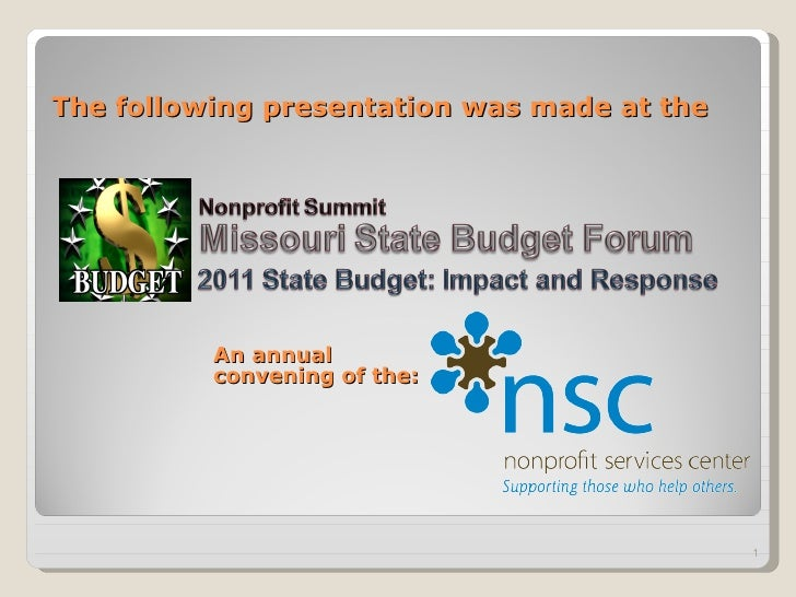The following presentation was made at the An annual convening of the: