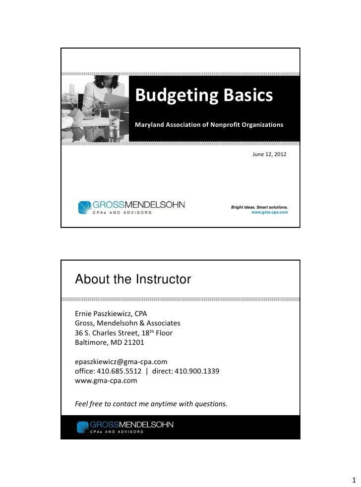 Budgeting basics for nonprofits
