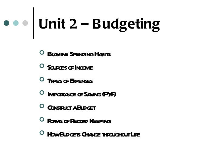 Unit 2 – B udgeting E mine SpendingHa s   xa              bit Sour ofIncome      cesT ypes ofExpenses Impora ofSa ing ...